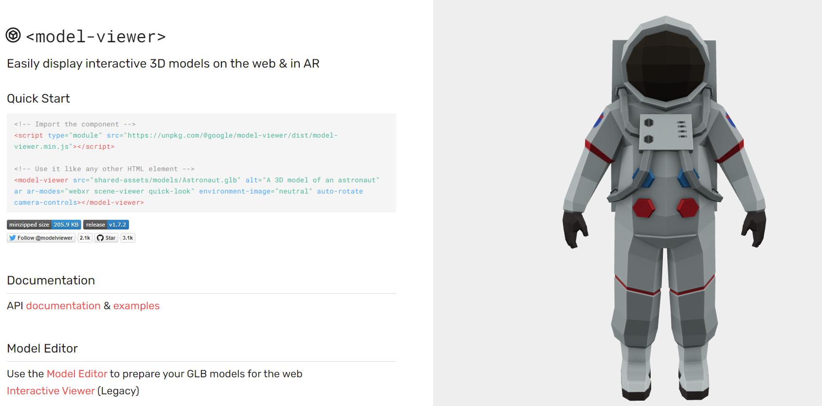 互動 3D models on the web & in AR